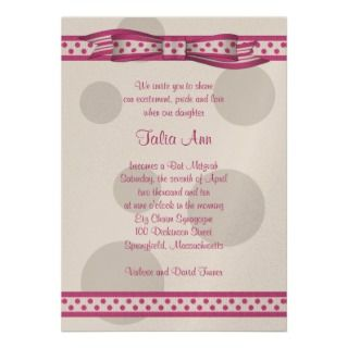 Pink and Grey Polka Dots Bat Mitzvah Invitation invitation