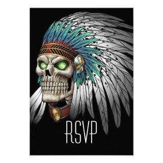 Indian Tribal Gothic Skull Personalized Invitations