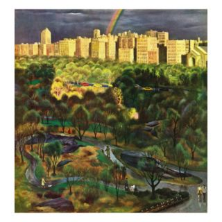 Central Park Rainbow, April 30, 1949 Giclee Print by John Falter