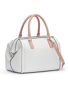 Guess Frosted Box Satchel WHITE Signature 4G logo embossed shiny vinyl