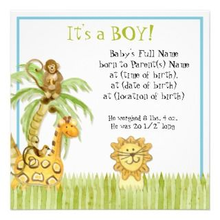 Jungle Babies, Boy Birth Announcement