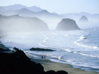 Overhead of Walkers, Cannon Beach, Ecola State Park, U.S.A. Photographic Print by Ann Cecil
