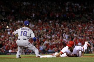 Game 7   Rangers v Cardinals, St Louis, MO   October 28 Lance Berkman and Michael Young Photographic Print by Jamie Squire