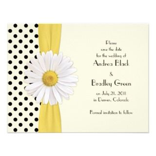 Daisy Black and Ivory Polka Dot Wedding Invitation