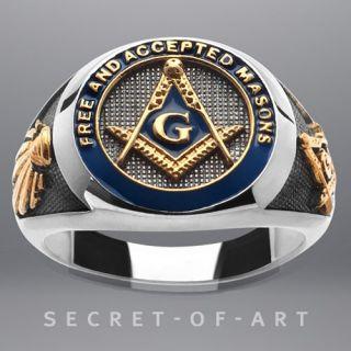 FREIMAURER MASONIC SILBER 925 RING BLUE ENAMEL 24K GOLD
