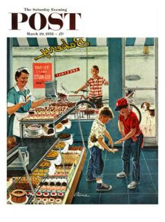 Doughnuts for Loose Change Saturday Evening Post Cover, March 29, 1958 Giclee Print by Ben Kimberly Prins