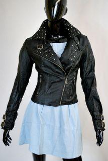 Biker Jacke,Punk Rock,Nieten,Imitat Lederjacke Vintage