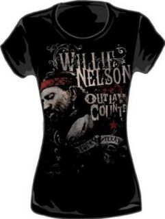 Willie Nelson     Outlaw Country Womens T Shirt in Schwarz