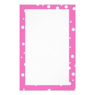 Polka Dots on Pink Background Personalized Stationery