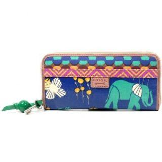Fossil Key Per Clutch Geldbörse Portemonnaie Blau Elephant