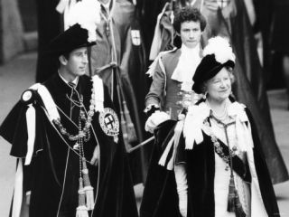 Prince Charles and the Queen Mother Wearing Robes A Suit and a Dress October 1978 Photographic Print