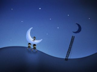 Illustration of Cartoon Characters Stealing the Moon Photographic Print