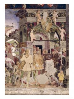 Borso DEste, Prince of Ferrara, Rendering Justice March from the Room of the Months, 1467 70 Giclee Print by Francesco del Cossa