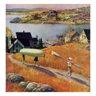Children with Rowboat, October 31, 1953 Giclee Print by John Clymer