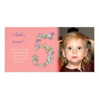 Girls 5th Birthday Thank You Photo Card