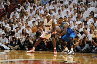 Dallas Mavericks v Miami Heat   Game One, Miami, FL   MAY 31 LeBron James and DeShawn Stevenson Photographic Print by Andrew Bernstein