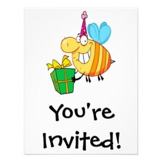 birthday bumble bee cartoon character announcement