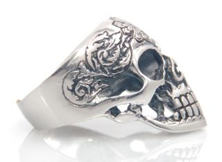 Edelstahl Ring Silber Totenkopf Skull Biker Gothic Totenkopfring NEU