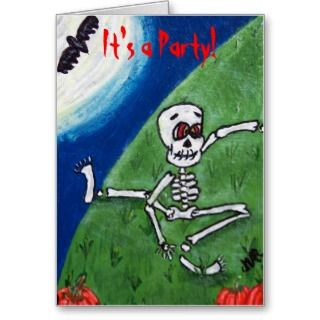 Dancing Skeleton Halloween Invitation Card