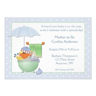 Baby Shower Blue Duck Bath Custom Announcements