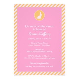 Bunny Baby Shower Invitation  Pink Orange