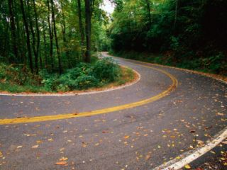 Curve in Road of Highway 32, Great Smoky Mountains National Park, Tennessee Photographic Print by John Elk III