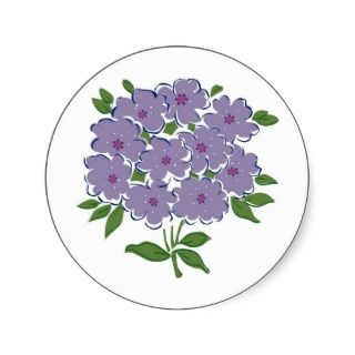 Cluster of Violets Image Round Sticker
