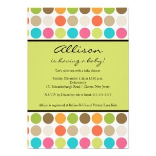 FUN Dots GREEN Baby Girl or Boy Shower Personalized Invitations