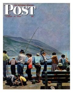 Pier Fishing, Saturday Evening Post Cover, August 13, 1949 Giclee Print by John Falter