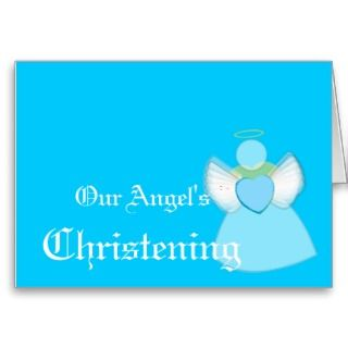 Our Angels Christening For Boys Customize Greeting Cards