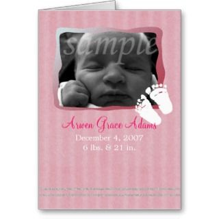 Baby Pink Glitter Birth Announcement    Customize Cards