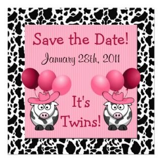 Western Twin Girls Baby Shower Save the Date Personalized