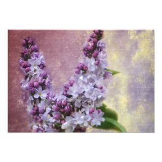 Love Letter V Lilac Flowers Flat Note Cards Personalized Invite