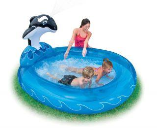 Kinder Pool Planschbecken mit Wal Dusche 203x157x107 cm