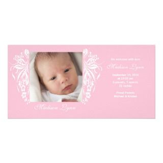 Pink Flourish New Baby Birth Annoucement Personalized Photo Card