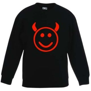 Kinder Sweat Shirt Pullover Smiley Teufel 104 164