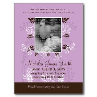 Baby Birth Announcement Lavender with Cocoa Fern Post Cards