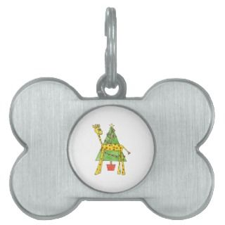 Giraffe, Monkey and Christmas Tree. Pet Tag
