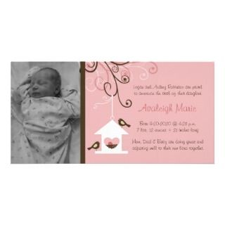 Bird House Baby Girl Announcement Photo Greeting Card