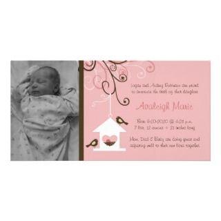 Bird House Baby Girl Announcement Photo Greeting Card