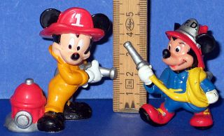 Micky Maus 2 x Feuerwehr Walt Disney Applause Figuren