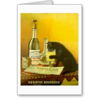 Absinthe Bourgeois and Cat Vintage Poster Art Card
