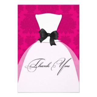 Bridal Shower Wedding Dress Hot Pink Announcement