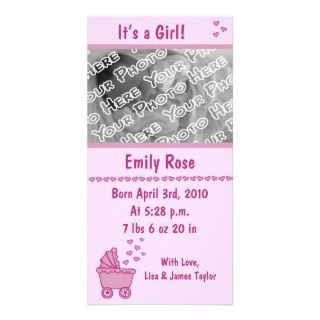 Pink Carriage & Hearts Birth Announcement Photo Cards