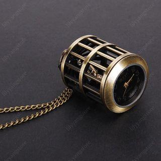 Antique Bronze Bird Cage Pendant Pocket Watch Necklace