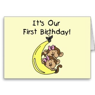 Twin Girls Banana Monkey 1st Birthday Card
