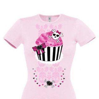 Cupcake Skull Totenkopf Girlie T Shirt in Pastell Rosa