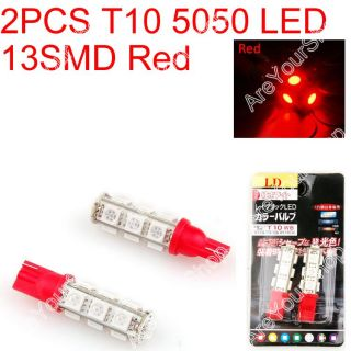 Car LED T10 194 W5W 5050 Wedge Light Bulb Lamp 13SMD Red