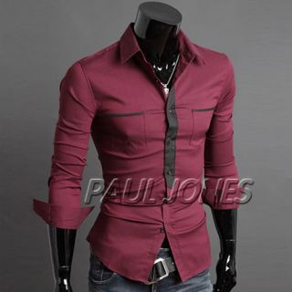 Herren Hemd Slim Fit LANGARM 2 FARBEN Neu T Shirt Polo Style Hemd