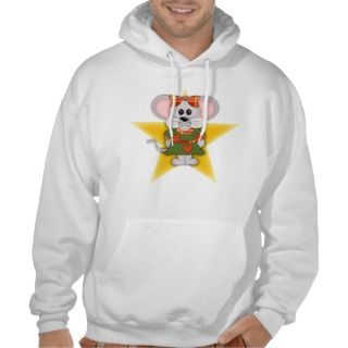 Cartoon Christmas Mouse Custom Text Hoodie
